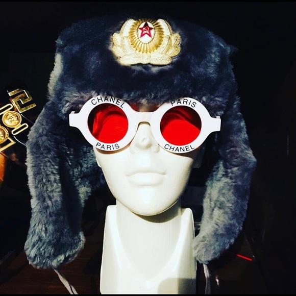 717f14964ad57 CHANEL Accessories - Rare Iconic Vintage CHANEL PARIS Round Sunglasses